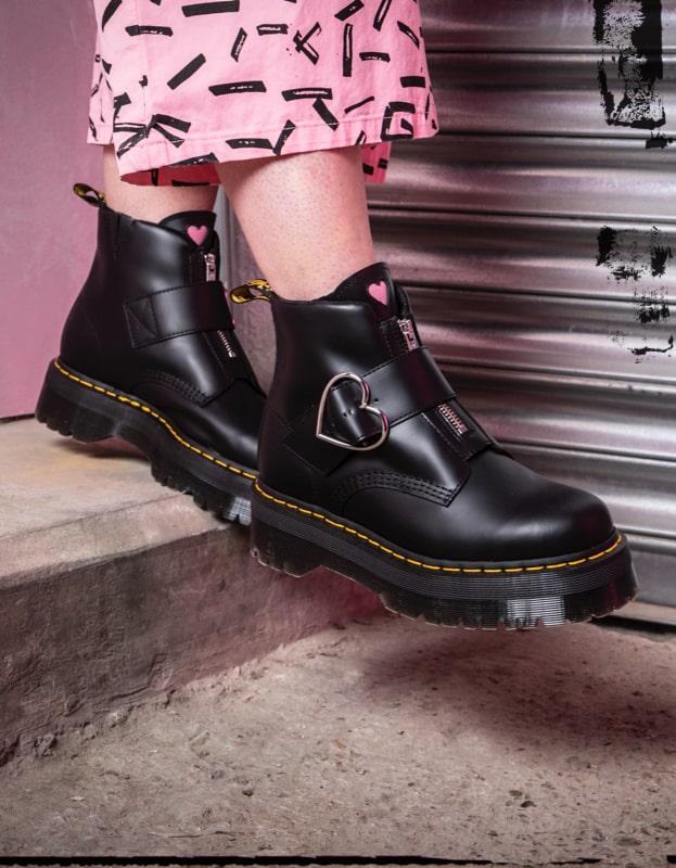 Lazy Oaf X Dr Martens Black Flatform Boots