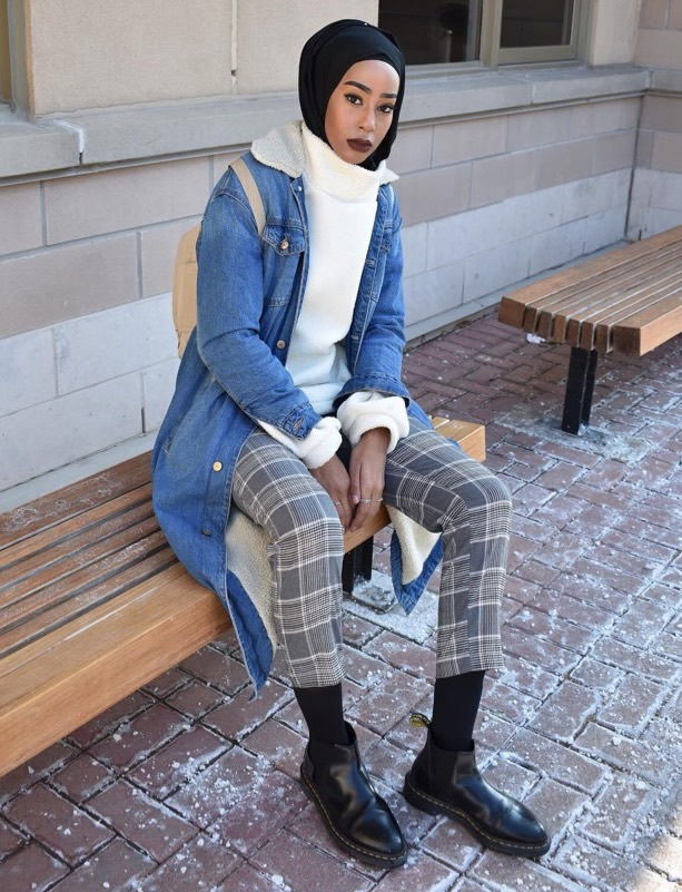 woman wearing hijab and black chelsea boots