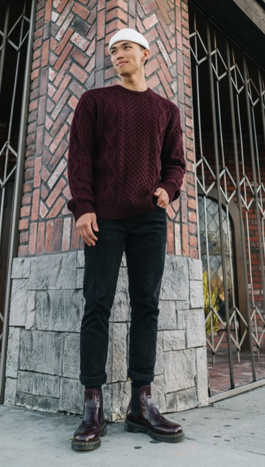 man wearing shiny dark red dr martens chelsea boots